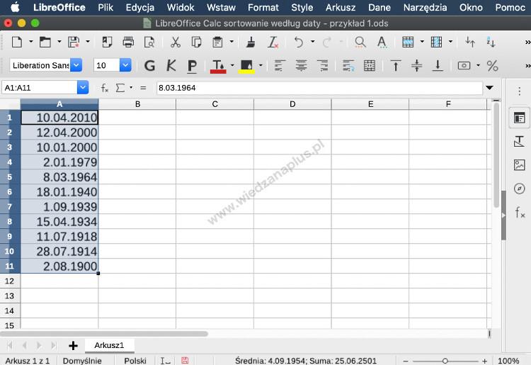 Rys. 2. LibreOffice Calc sortowanie według daty, krok 2/2