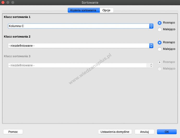 Rys. 6. LibreOffice Calc sortowanie wierszy dla jednej kolumny, krok 2/3