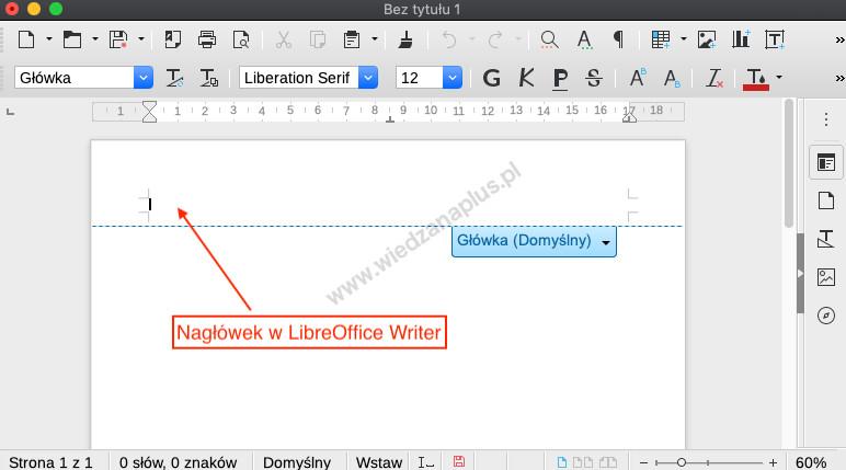 Rys. 4. Nagłówek w dokumencie tekstowym LibreOffice