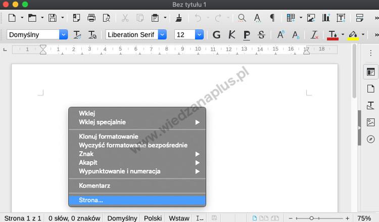 Rys. 1. Uruchamianie okna Styl strony za pomocą menu kontekstowego LibreOffice