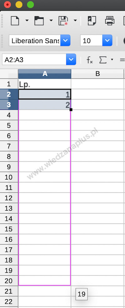 Rys. 2. Automatyczne numerowanie wierszy LibreOffice Calc, krok 2/3