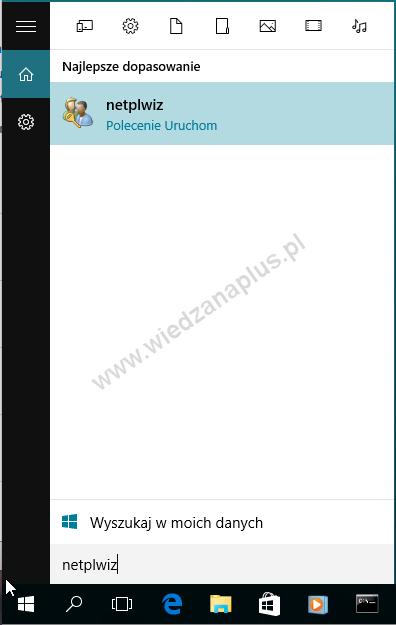 Uruchamianie okna Konta Użytkowników w Windows 10